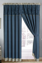4-P Ruched Pinched Floral Diamond Curtain Set Navy Blue Gray Sheer Liner... - $40.89