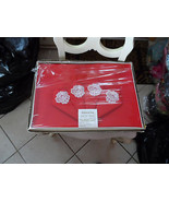 Vintage red 52 x 52 tablecloth and 4 matching napkins NIB - $18.00
