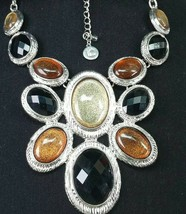 Liz Claiborne Statement Necklace Black Faceted Amber Champagne Cabochon Lucite - $9.89