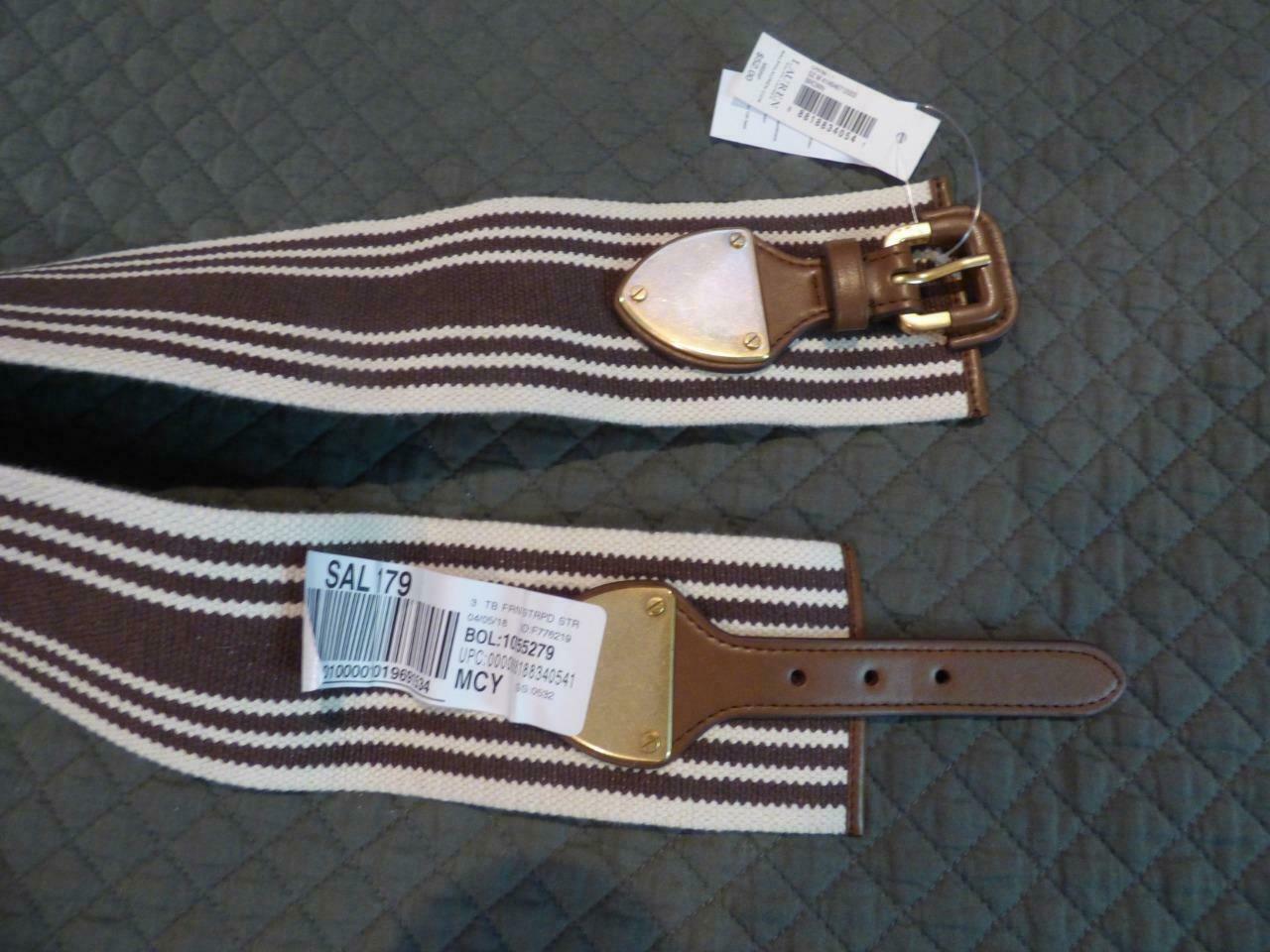$52.00 Lauren Ralph Lauren Striped Wide Stretch Belt, Brown / Natural