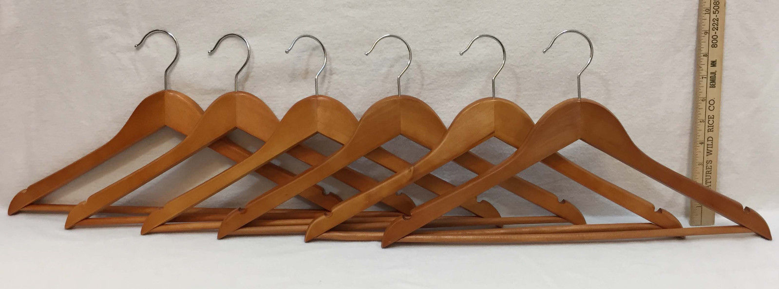 Clothes Hangers Wood Wooden Set 6 Notched Holds Tops w/ Straps Pant Trouser Rod - $14.84