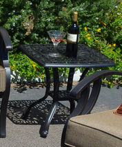 Outdoor End Table  Patio Furniture Cast Aluminum Elisabeth Rust Free Bronze image 3