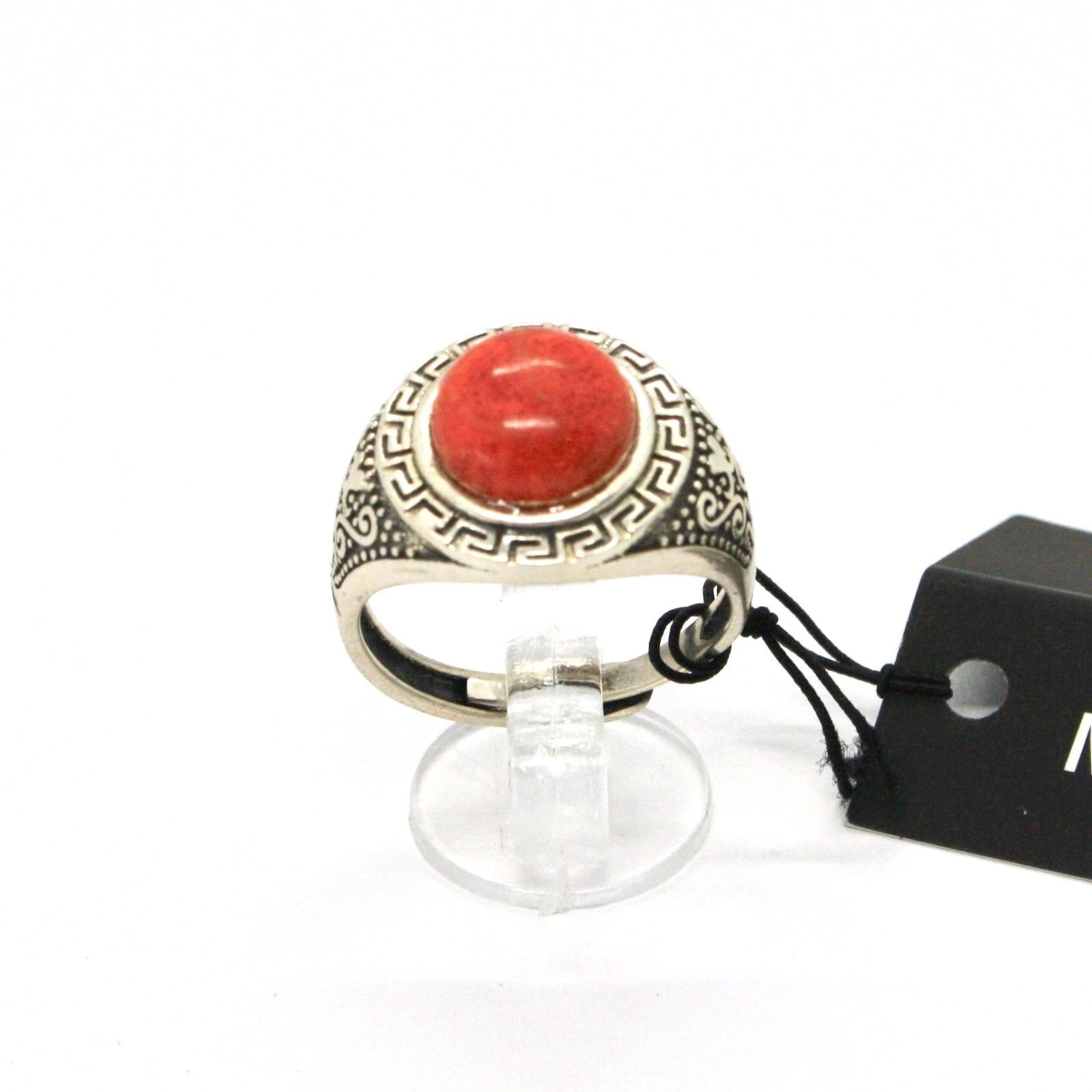 Silver Ring 925 Antique with Jasper Red Made in Italy by Maschia