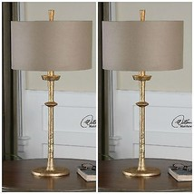 "TWO LARGE 32"" AGED GOLD HAMMERED CAST IRON FINISH TABLE DESK LAMP LINEN ... - $602.80"
