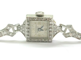 "Platinum Longines Vintage Diamond Watch .35Ct 6"" - $2,475.00"