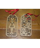 Lot of 2 Laser Cut Wood Tin Soldier CANDY CANE with 2 Teddy Bears Christ... - $7.69