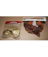 Pinecones & Dried Decor 2ea Bags Gold & Brown Floral Accents Ashland Xma... - $9.49