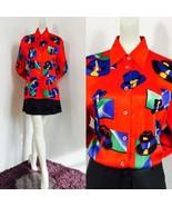 1990s Escada by Margaretha Ley Germany 100% Silk Red Blouse hats design ... - $157.50