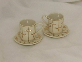 PartyLite Tea For Two Candle Holder Set Glazed Porcelain with 24K Gold T... - $12.82