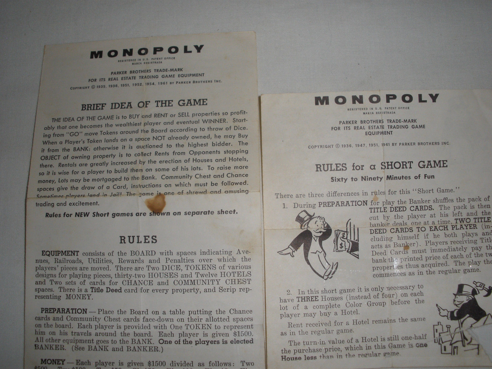 1960s Monopoly Game Rules Replacement And 46 Similar Items