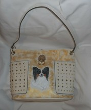 Papillon Dog Portrait Handbag Bag Purse for Women Hand Painted Vegan - $69.00