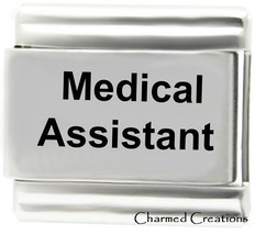 Medical Assistant 9mm Italian Charm Stainless Steel Modular Link Nurse ER Dr - $7.87