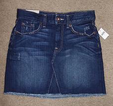 New Gap Jeans 0/25 Mini Skirt Destructed Authentic Fringe Pencil Cotton Stretch - $22.43