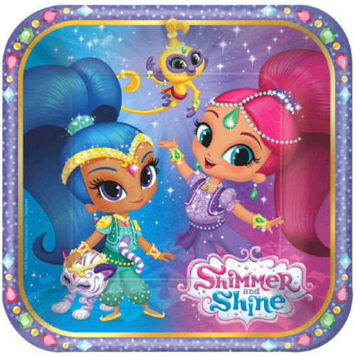 """Shimmer and Shine 8 7"""" Dessert Cake Plates Birthday Party"""