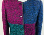 Vtg Kasper ASL Women Wool Mohair Boxy Cardigan Sweater 8 Colorblock Jewel Tone