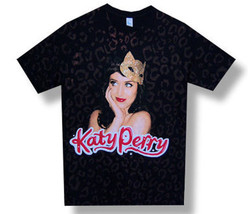 Katy Perry-Kitty Mask-All Over Print-2009 Tour-Black Lightweight T-shirt - $16.99