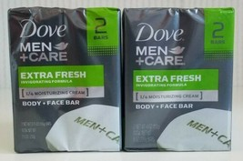 Dove Men+Care Extra Fresh Body and Face Bar Soap 4 Bars Total New  - $15.83