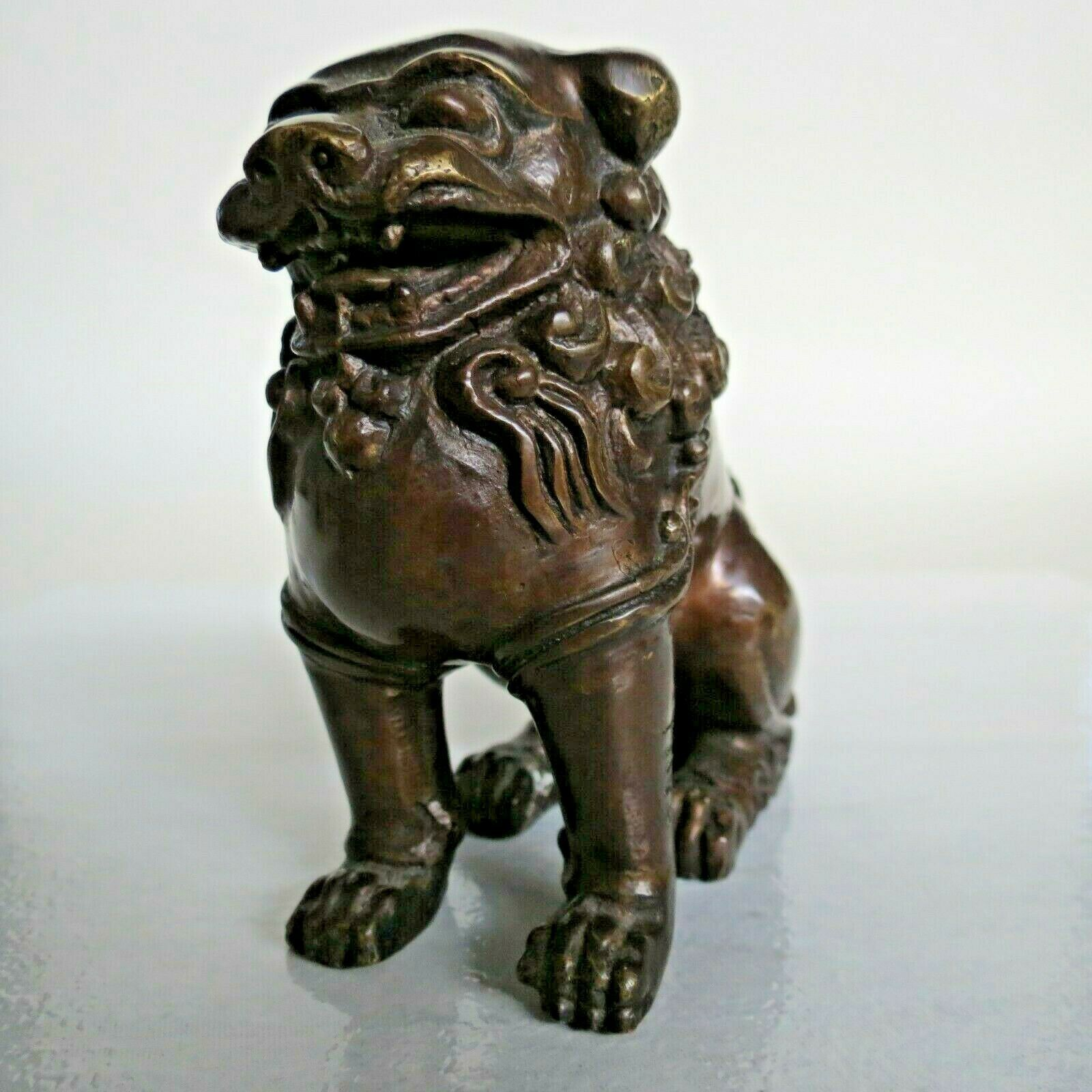 "Ancient Foo Dog Bronze Japan Hiro antique figurine 4.25x4x2.25"" old age unknown"