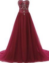 Crystal A-line Long Prom Dresses Tulle Sweetheart Formal Dress Evening G... - $147.89