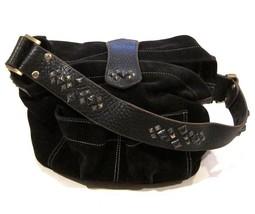 Tylie Malibu Bag Classic Utility Black Suede Leather w/ Pyramid Stud Acc... - $82.47