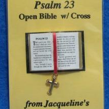 Dollhouse Open Bible 23rd Psalm w Cross Jacqueline's 4920 Readable Minia... - $5.60