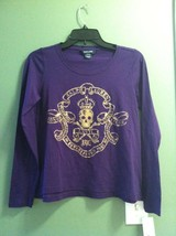 RALPH LAUREN TEENAGE GIRLS NEW PURPLE 100%COTTON TOP SIZE XL(16) - $36.47