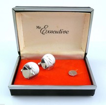 Vintage 1950s 60s MR EXECUTIVE Hand Engraved Sterling Silver Cufflinks &... - $175.00