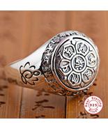 925 Silver Lotus Rings Good Luck Buddha Adjustable Size Trendy Popular S... - $38.66