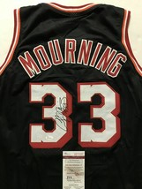 Autographed/Signed ALONZO MOURNING Miami Black Basketball Jersey JSA COA... - €134,24 EUR