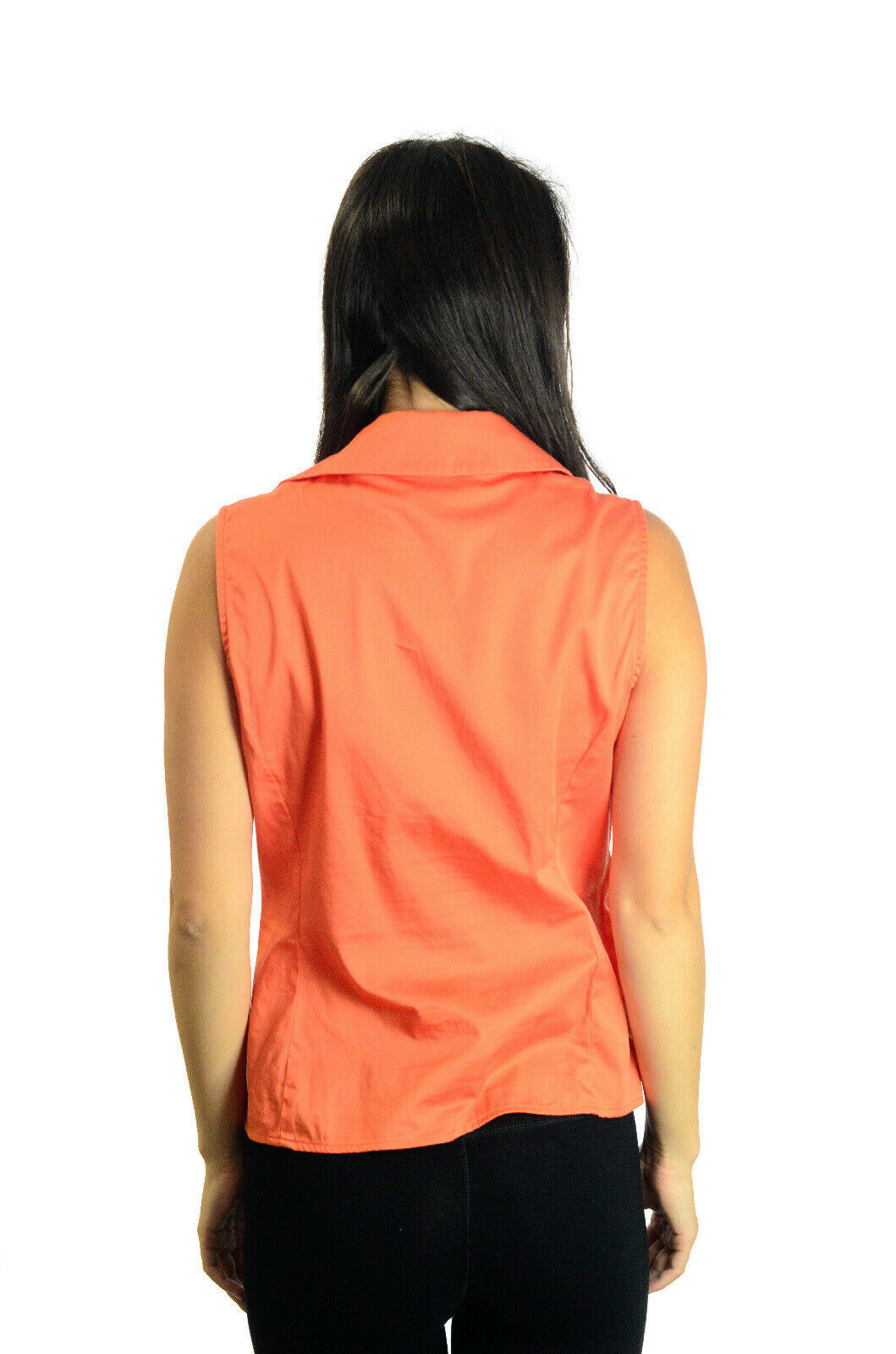 Size S Jones New York Bright Orange Sleeveless Collared Top w/Side Zip Closure