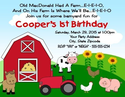 Tractor Farm Birthday Party Invitations Personalized Custom