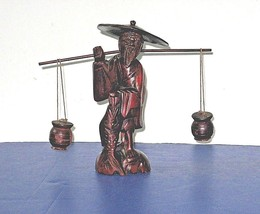 ASIAN CARVING:   Old Man Balancing Pots While Carrying Big Fish - $28.21