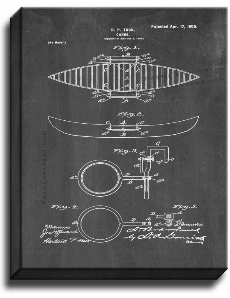 Primary image for Canoe Patent Print Chalkboard on Canvas