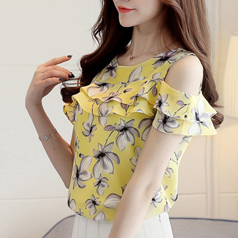 2017 Women Off Shoulder Short Sleeve Blouses Print Floral Chiffon Shirts Casual  image 4