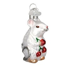 Old World Christmas MOUSE Glass Ornament Rodent Cherries 12196 White - $14.80