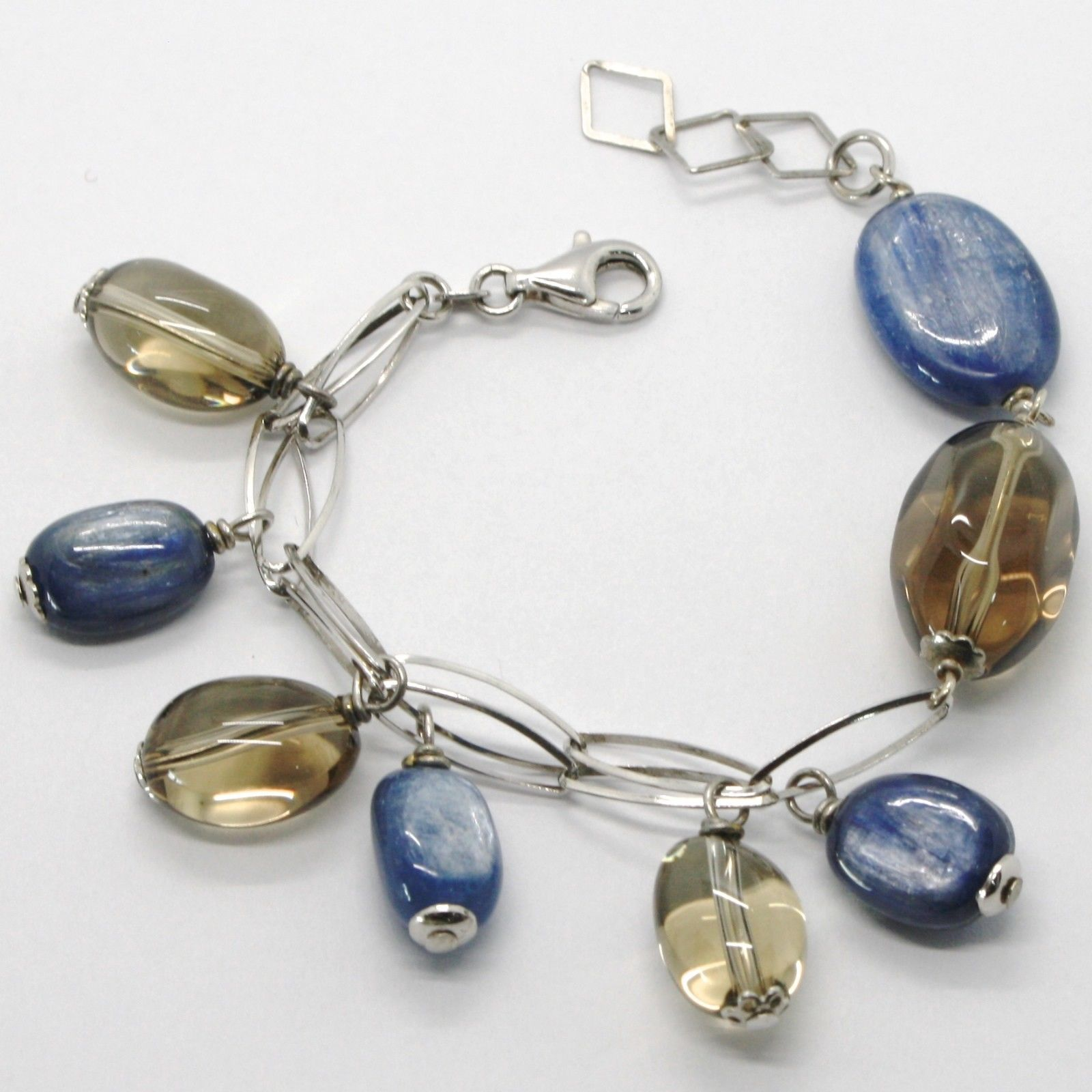 SILVER 925 BRACELET RHODIUM WITH KYANITE AND QUARTZ SMOKED MADE IN ITALY