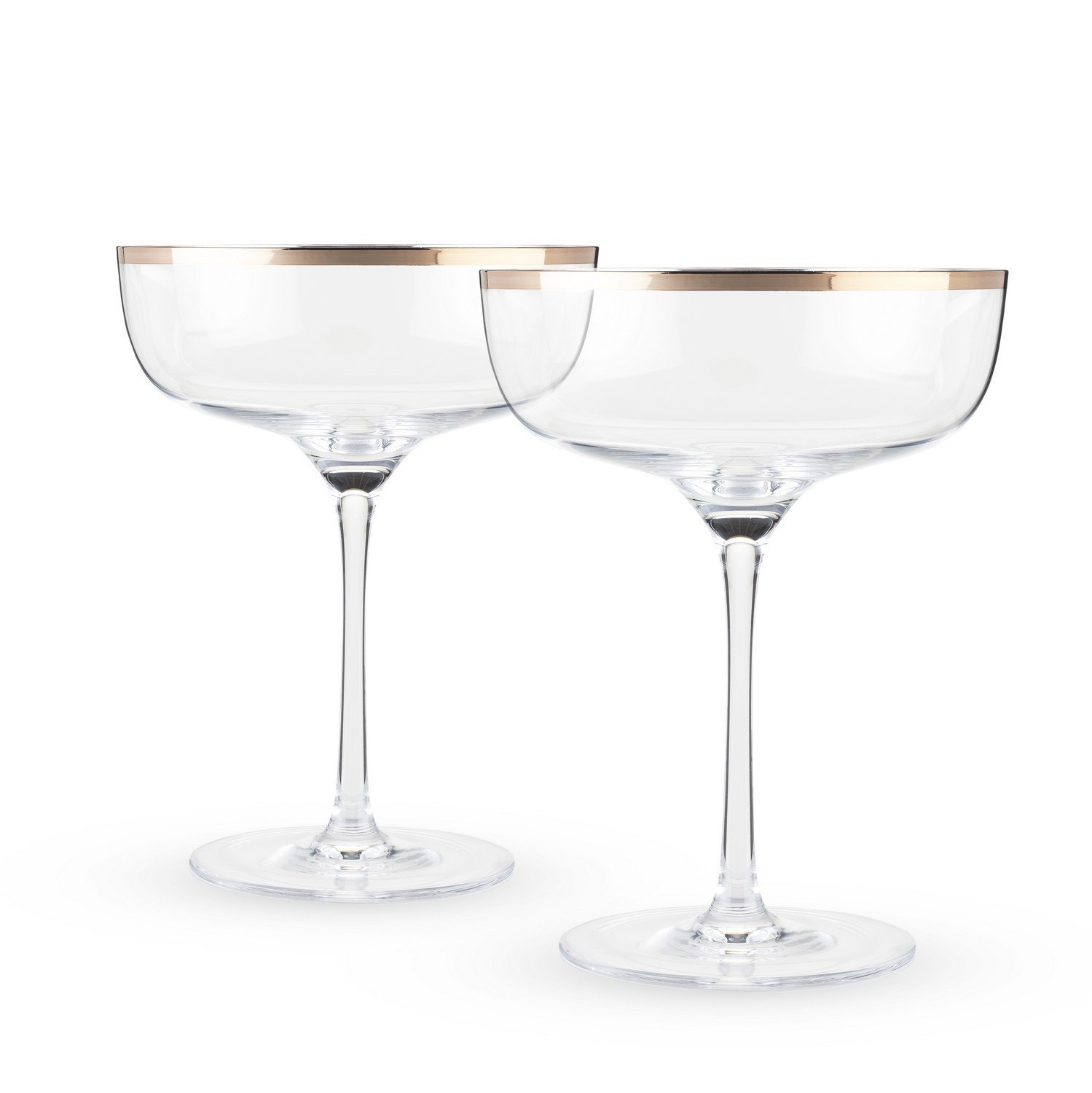 Glass Drinking Glasses, Elegant Copper Rim Crystal Coupe Clear Drink Glasses Set