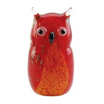 Art Glass Owl Figurine Statue Red Hand-Crafted - $32.95