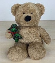 "2005 Ty Pluffies Beary Merry 9"" Brown Bear Holding Green Plaid Bear Plus... - $11.57"