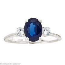 SAPPHIRE & DIAMOND ENGAGEMENT RING 3-STONE OVAL SHAPE 14KT WHITE GOLD - €1.108,02 EUR