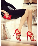 Jimmy Choo Colada Pumps Flame Red Suede Heel Embellished Sandals Shoe 37 - $479.98