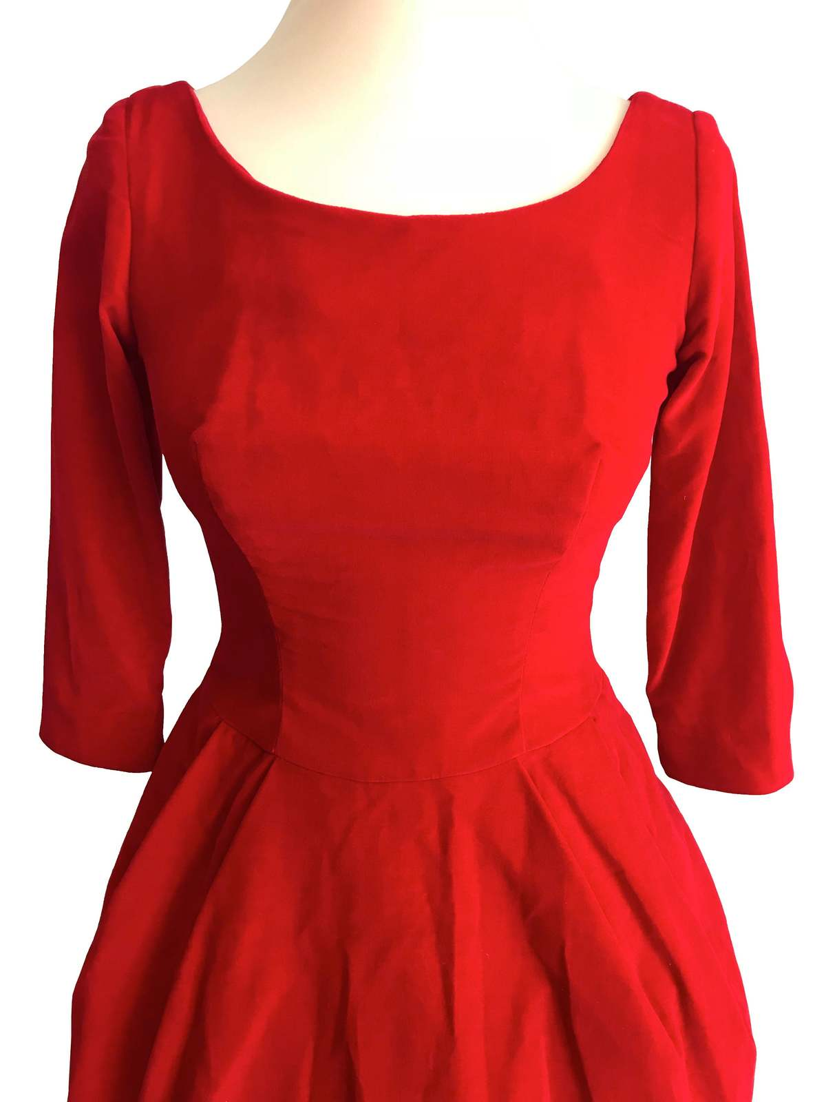 50s Poppy Red Velvet Fit & Flare Xmas Party Bubble Skirt Pin Up Rockabilly Dress image 4