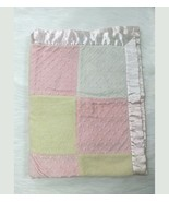 First Impressions Baby Blanket Girl Pink Yellow Patchwork Minky Dot B59 - $14.99