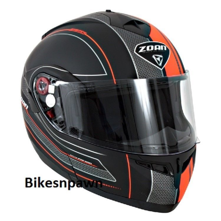 New XS Zoan Optimus Black & Orange Raceline Modular Motorcycle Helmet 138-163