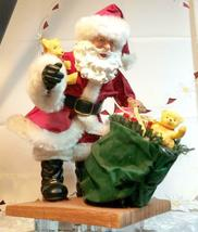 "VINTAGE SANTA CLAUS WITH BAG OF TOYS ON HEAVY CERAMIC FLOOR BASE -  10""X10"" image 10"