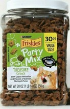 1 Jar Purina Friskies 30 Oz Party Mix Treasure Crunch Real Whitefish Cat... - $24.99