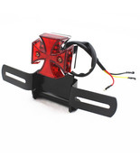 Motorcycle LED Red Tail Brake Light Lamp License Plate Bracket Scooter O... - $16.82