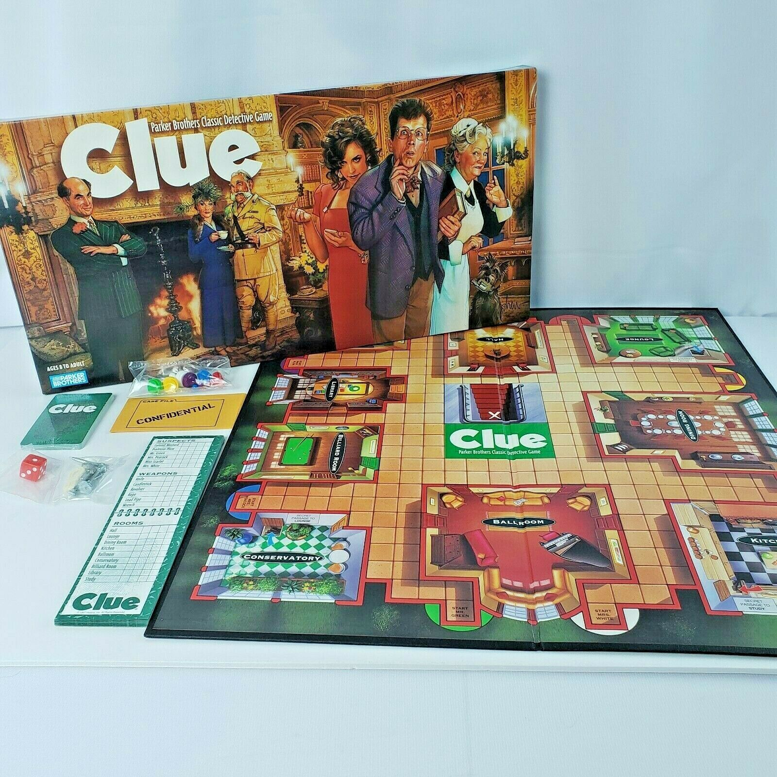 Primary image for CLUE Classic Detective Game Parker Brothers Ages 8+ 3-6 Players Vintage 1996