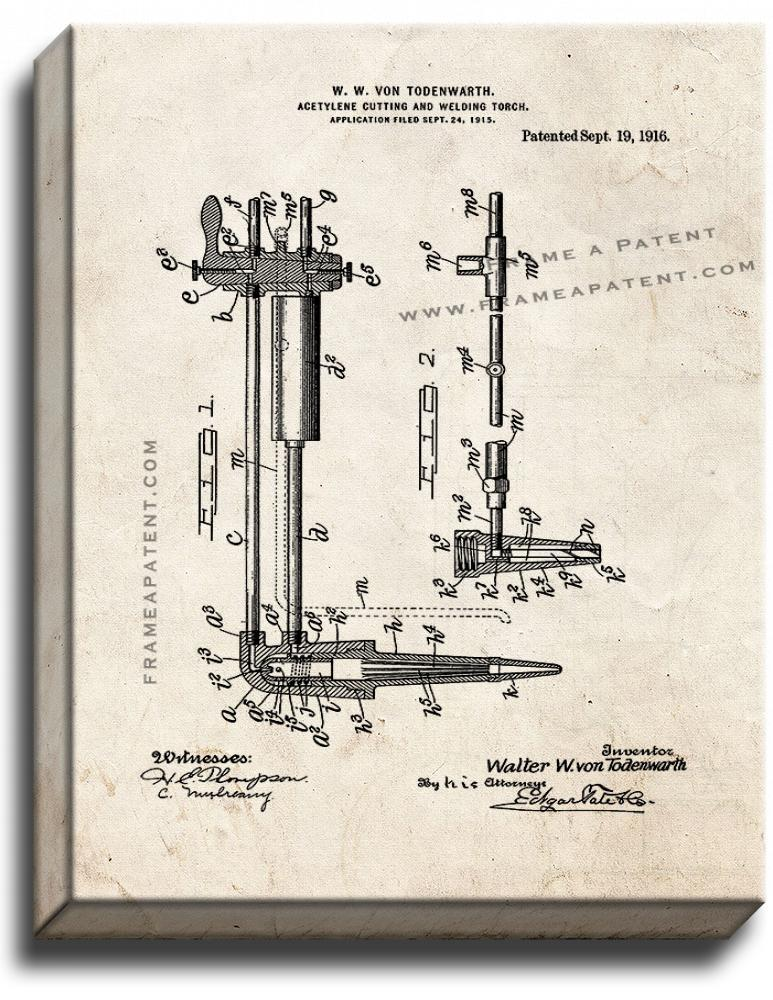 Primary image for Acetylene Cutting and Welding Torch Patent Print Old Look on Canvas