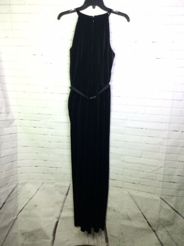 Luxe by Carmen Marc Valvo Womens Size 4 Chic Black Belted Soft Velvet Jumpsuit